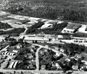 Flygbild över Kimarp mot Scancenter, nuvarande MITAB