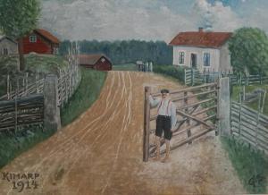 Motiv frå Stoeryd mot Kimarps ladugård (Idag Tranås Skolmöbler) målad av G.S