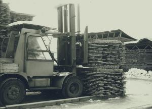 Lastning av björkplank 1965