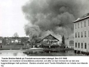 Tranås Snickerifabrik branden 5 mars 1948