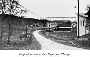 Vägen till Kimarp från Kågéns med text. (Gamla Trehörnavägen)