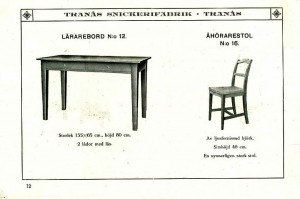 112 Lärarebord nr 12 och åhörarstol nr 16